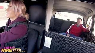 Female fake taxi breasty driver swaps fare for fuck