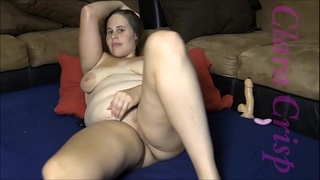 Chubby brunette hair fingering, using sex toy and fake penis to cum hard