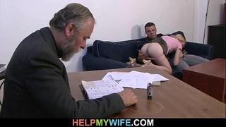 Desperate spouse pays a man to fuck his dirty slut wife