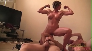 Female muscle porn star female-dom amazon is masturbating