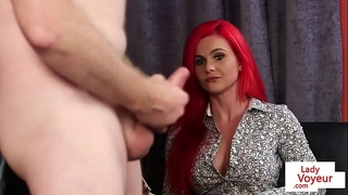Redhead british voyeur teasing jerking chap