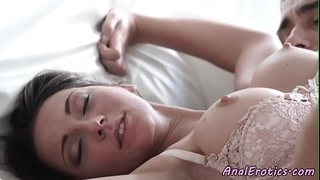 Busty beauty in nylons receives buttfucked