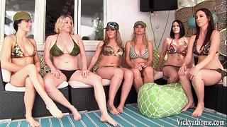 Vicky vette's 6 horny white wife lesbo orgy!