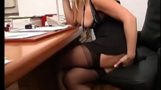 Dirty secretary jerks off her love tunnel in office instead of work