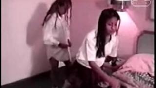 Two mexicans schoolgirls enjoying
