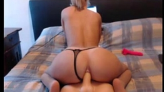 Blonde cam model bonks her butt sex tool cowgirl