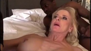 Blonde older gilf dark ramrod bang
