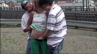 Alexis crystal facial cum at a public teach station in three-some with two legal age teenager fellow