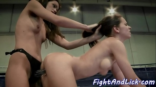 Wrestling lesbian babes have a fun playing with toys