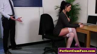 Busty office brit throating rod until facial