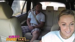 Female fake taxi giant milk sacks cabbie craves pecker on the backseat
