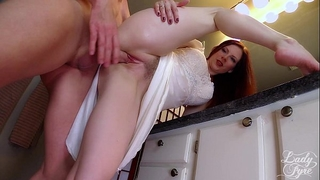 Cuckold's view from underneath femdom by white wife fyre cucky