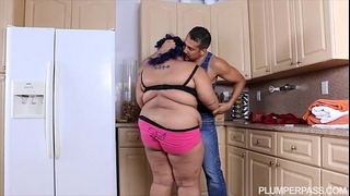 Angry bbw sweetheart is calmed and drilled by hubby's ally