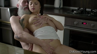 Old goes youthful - hot dark brown gerra and her guy