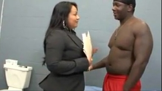 Latina lawyer bonks her dark guy in his cell