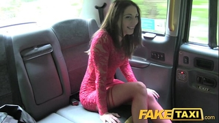 Fake taxi sexy legal age teenager in red costume and nylons