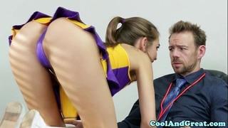 Cheerleader riley reid tastes coaches sperm