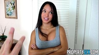 Propertysex - panty sniffing landlord copulates sexy latin babe tenant with large ramrod