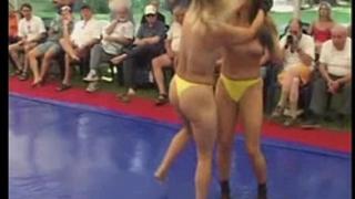 Topless honeys fight