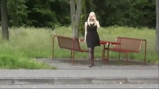 Dogging wench can't live without to tease in public toliet
