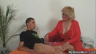 Mom-in-law rides him and horny white wife comes in