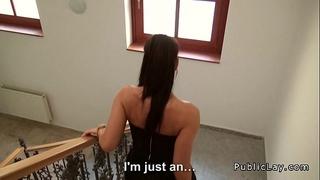 Tight czech secretary copulates pov in public