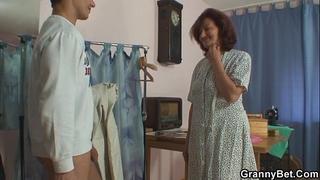 Sewing oldie pleases his lustful shlong