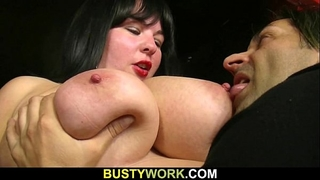 Busty barmaid widens her legs for him