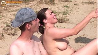 Real non-professional trio on the beach