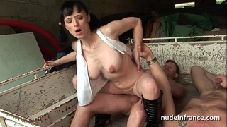 Busty dilettante aged hard anal screwed in 3some outdoor