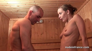 Horny golden-haired hard anal drilled whilst getting her cookie bald in a sauna