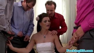 Bukkake loving euro bride sucks five knobs