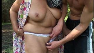 Fatty older slutwife copulates youthful boy in the woods