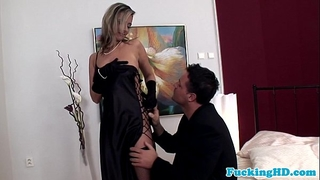Glamour euro chick takes cock in all holes