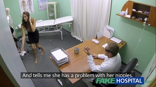Fakehospital sexy housewife with large bumpers acquires doctors treatment in advance of squirting