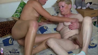 Oldnanny granny with curly love tunnel, youthful white bitch, and toys