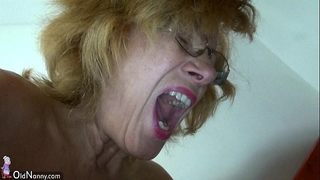 Fat granny and corpulent aged masturbating cum-hole jointly