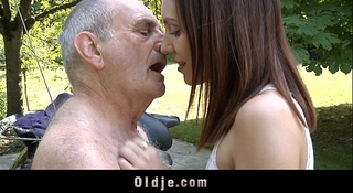 Horny teeny rides a 70 years old stud