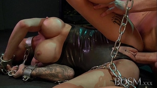 Bdsm xxx youthful sub receives so soaked when manacled up and dominated by her corporalist