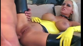 Blonde fucking in latex nylons and a garter