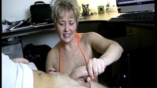 Naughty aged cook jerking in car