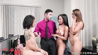 Charles is lucky to fuck three gorgeous babes in the office