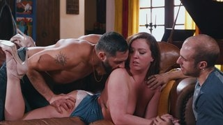 Mature has fun fingering pussy through panties with two males