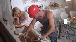 A hard working man has fun at home with milf