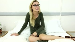 Young blonde teacher in glasses undresses and does fantastic blowjob with hardcore sex after that