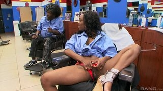 Ebony black customer at haircutters salon does blowjob to man, riding his dick and moaning from pleasure