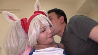 Arousing Japanese babe in a wig got nicely fucked in bed