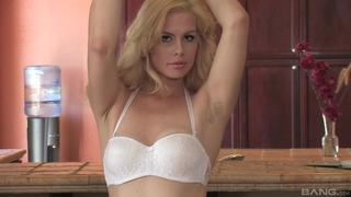 Sex-starved blondie with natural tits fucks herself in the kitchen