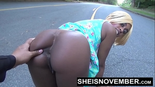 Risky middle of street oral job & large booty swarthy arse out for stranger msnovember