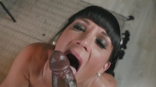 Dark-haired bitch enjoys savage interracial fuck